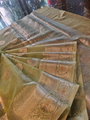 Light Green linen saree with silver all over booties and silver weaving border - EthnicRoom
