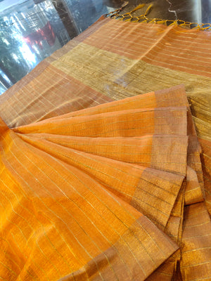 Orange zari linen saree with silver zari stripes all over