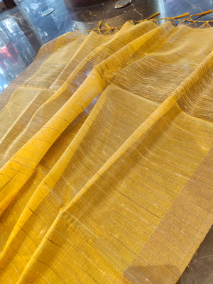 Mustard yellow zari linen saree with silver zari stripes all over