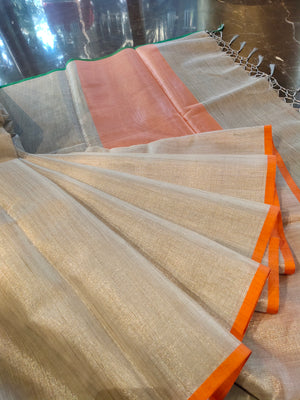 Sliver zari linen saree with multi colour border of green and orange