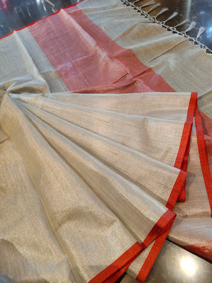 Silver zari linen plain saree with red border