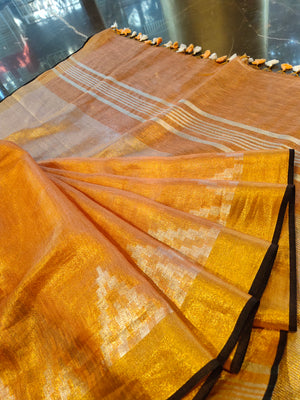 Peach zari linen saree with silver golden zari weaving