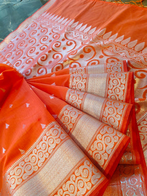 Dark Peach chanderi silk saree with silver all over booties and and border - EthnicRoom