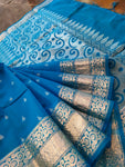 Blue chanderi silk with silver booties all over and border - EthnicRoom