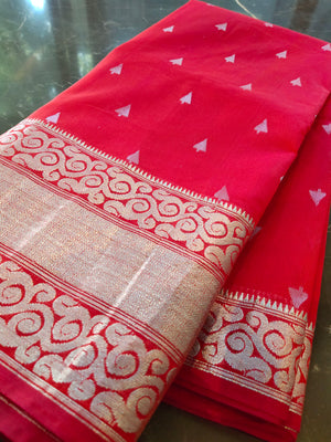 Red chanderi silk saree with silver booties all over and border