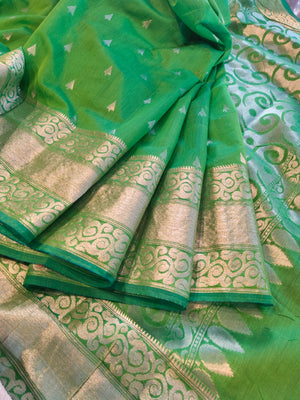 Green chanderi silk saree with silver booties all over and border - EthnicRoom