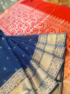 Royal blue chanderi saree with silver booties all over and border
