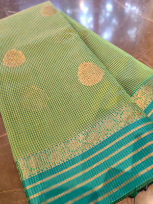 Green chander saree with all over small checks and zari bootties - EthnicRoom