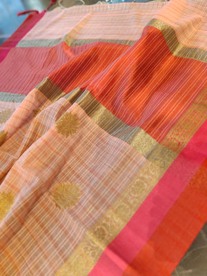 Peach chanderi saree with zari booties all over