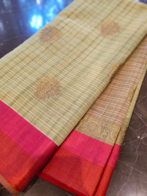 Light Green chanderi saree with all over zari bootties - EthnicRoom