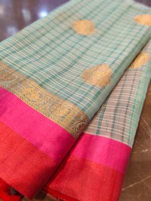 Green chanderi saree with all over zari bootties - EthnicRoom