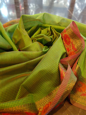 Green chanderi saree with all over small checks and zari weaving border - EthnicRoom