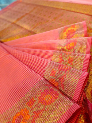 Pink chanderi saree with all over small checks and zari weaving border