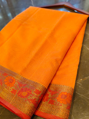 Orange chanderi saree with all over small checks and zari weaving border