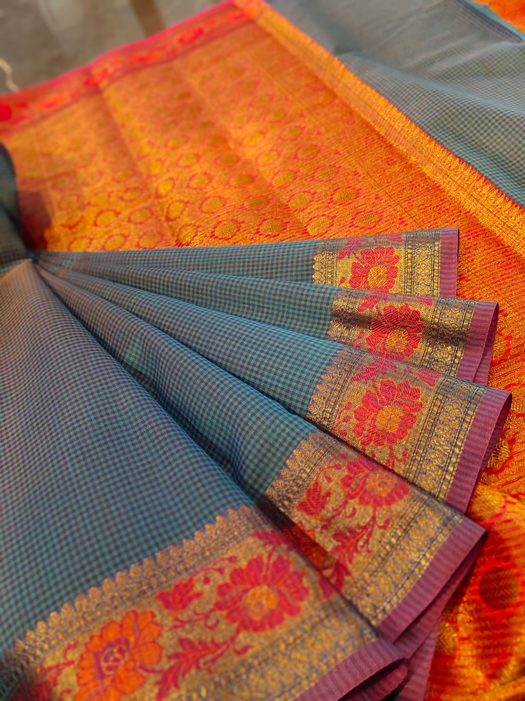 Blue chanderi saree with all over small checks and zari weaving border - EthnicRoom
