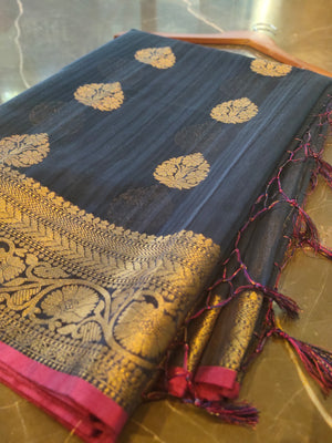 Navy Blue chanderi saree with  all over golden zari bootties and border