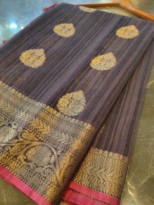 Purple chanderi saree with all over golden zari bootties and border