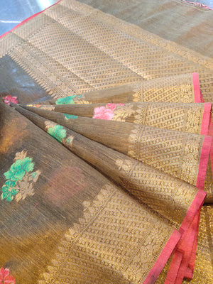 Olive green chanderi saree with multi colour zari bootties and zari weaving border