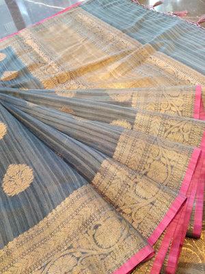 Grey chanderi saree with all over golden zari bootties and border - EthnicRoom