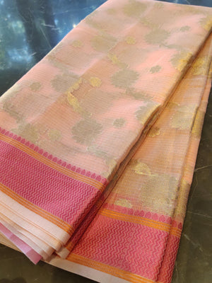 Baby pink kota saree with all over zari jaal - EthnicRoom