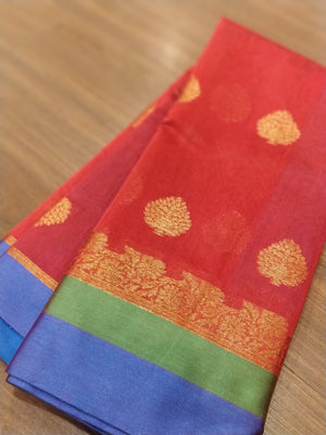 Red chanderi saree with bright borders and blouse