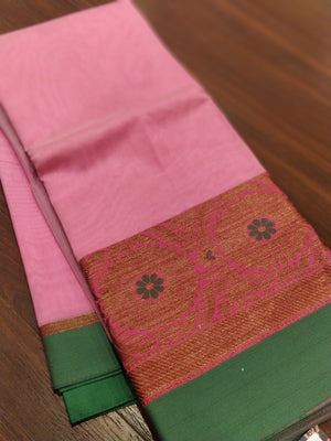 Pink chanderi saree with floral zari border with contrast blouse