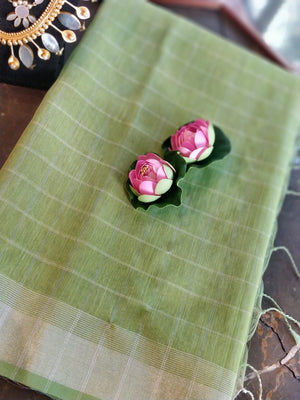 Bright Green cotton linen with silver small checks and border