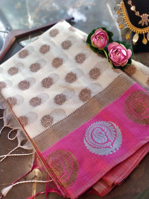 White kota saree with silver and golden motifs on pink border and golden booties all over