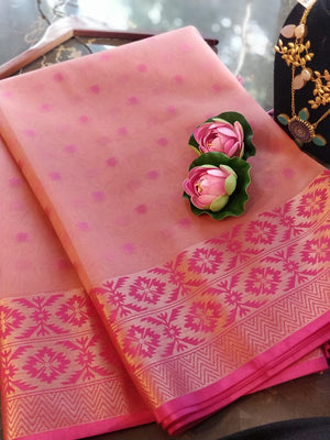 Pink kora silk saree with golden zari weaving border
