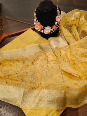 Yellow chander dress material with embroidery organza dupatta