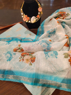 Blue cotton silk dress material with digital printed linen dupatta