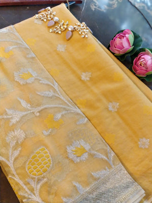 Yellow chanderi dress material with organza dupatta