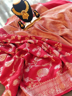 Red pure khaddi tusser saree with golden jaal overall and golden zari weaving