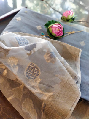 Grey chanderi dress material with organza dupatta