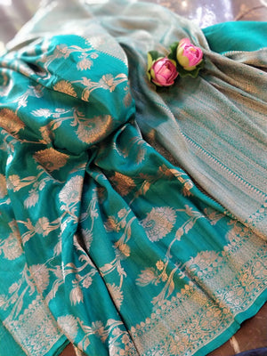 Sea green pure khaddi tusser saree with golden woven jaal allover