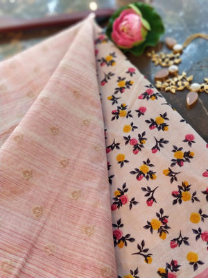 Baby pink chanderi dress material with woven zari booties and printed cotton dupatta