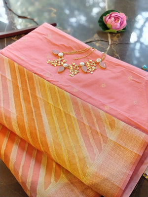 Pink chanderi dress material with organza dupatta