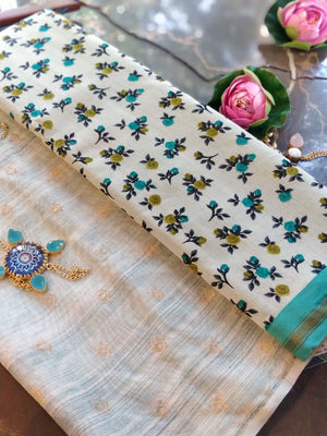 Sea green chanderi dress material with cotton printed dupatta