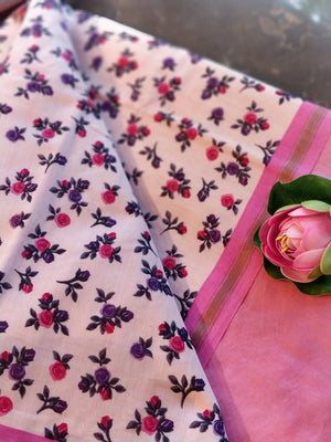 Pink chanderi dress material with printed cotton dupatta