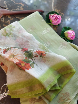 Pista Green cotton silk dress material with digital print linen dupatta