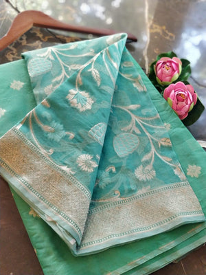 Sea green chanderi dress material with organza dupatta
