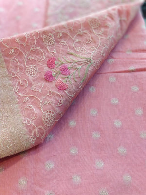Pink chanderi dress material with embroidery organza dupatta