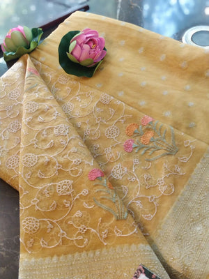 Yellow chanderi dress material with organza embroidered dupatta