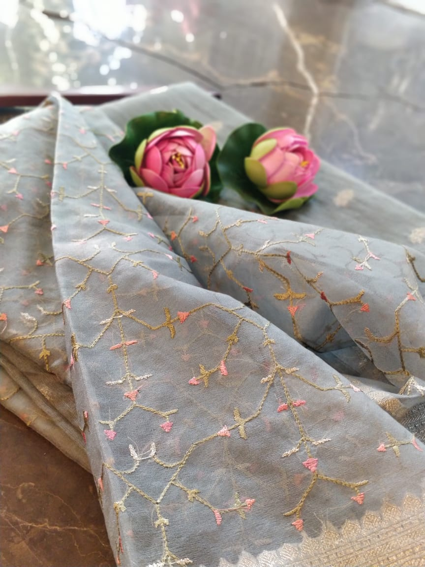 Grey chanderi dress material with embroidered organza dupatta