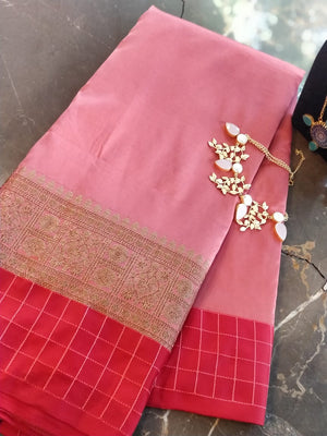 Pastel Pink soft silk saree with zari and red checks border