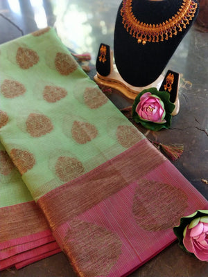 Green kota saree with zari booties and zari weaving border