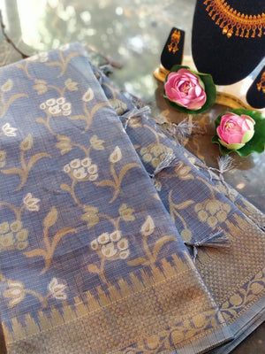 Grey kota saree with allover golden floral jaal
