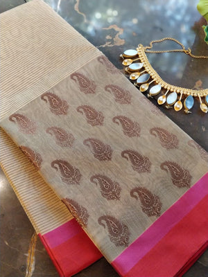Beige chanderi saree with paisley zari booties and solid border