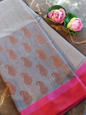 Grey chanderi saree with paisley zari booties and solid border