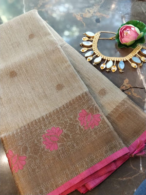 Beige kota saree with zari weaving border